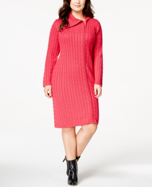 Calvin Klein Plus Size Cable-Knit Side-Zip Sweater Dress
