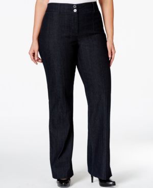 Style & Co. Plus Size Tummy-Control Straight-Leg Denim Trousers, Only at Macy's