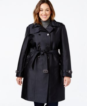 Calvin Klein Plus Size Double-Breasted Trench Coat