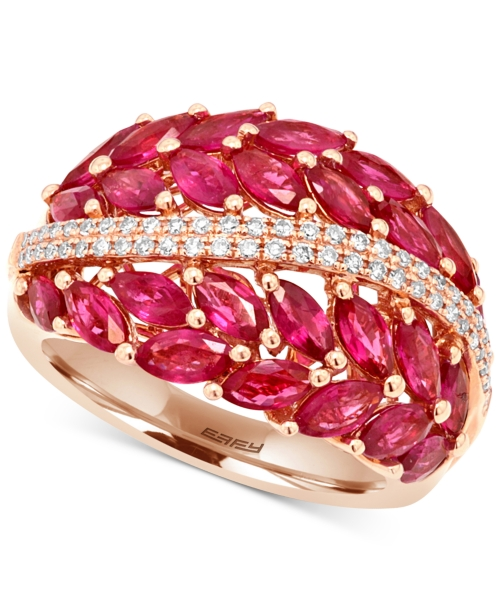 Effy Ruby (4 ct. t.w.) and Diamond (1/5 ct. t.w.) Statement Ring in 14k Rose Gold