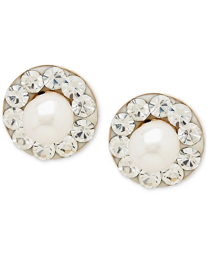Macy's - Cultured Freshwater Pearl (3mm) and Cubic Zirconia Stud Earrings in 14k Gold