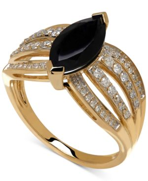 Onyx (12x6mm) and Diamond (1/3 ct.t.w.) Ring in 14k Gold thumbnail