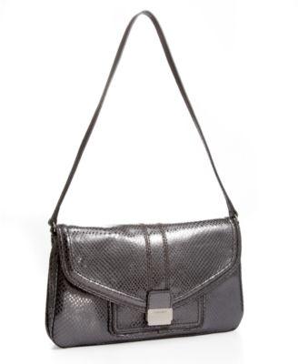 Calvin Klein Metallic Embossed-Snakeskin Clasp Bag