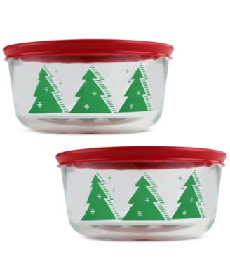 Image of CLOSEOUT! Pyrex 4-Pc. Christmas Tree Storage Set, Only at Macy's