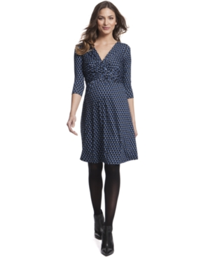 Vintage Style Maternity Clothes Seraphine Maternity Printed Twist-Front Dress $59.99 AT vintagedancer.com