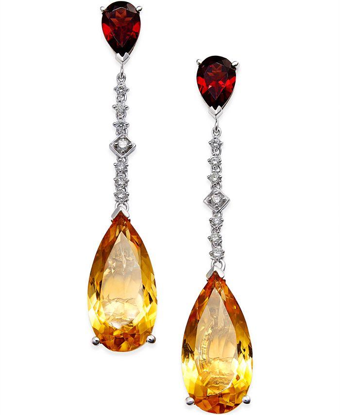 Macy's - Citrine (14 ct. t.w.) Garnet (3 ct. t.w.) and Diamond (1/4 ct. t.w.) Drop Earrings in 14k White Gold