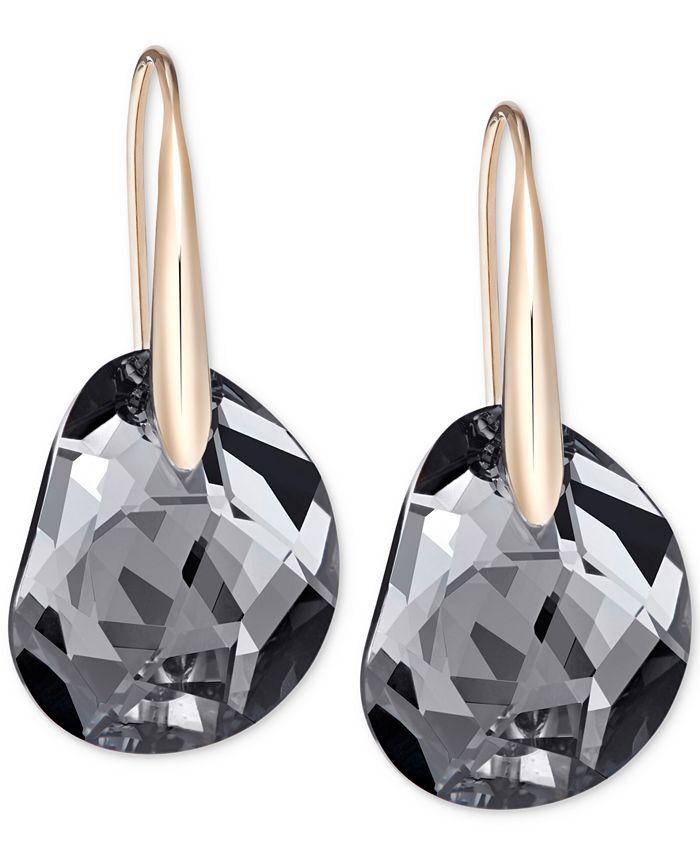 Swarovski - Rose Gold-Tone Faceted Black Crystal Earrings