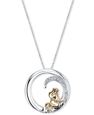 Disney Little Mermaid Ariel Diamond Accent Pendant Necklace in Sterling Silver