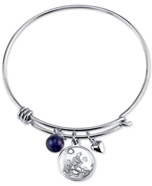 Disney Frozen Olaf Charm Bangle Bracelet in Stainless Steel with Silver-plated charms