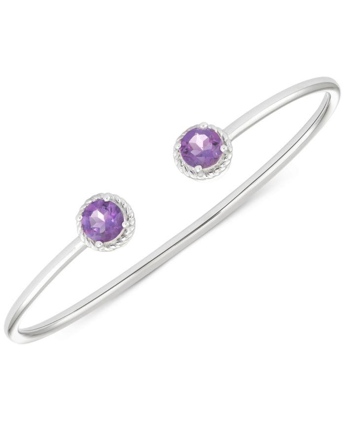 Macy's Amethyst Open Bangle Bracelet (2-3/8 ct. t.w.) in Sterling Silver & Reviews - Bracelets - Jewelry & Watches - Macy's