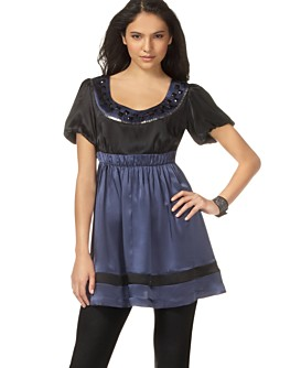 Kensie Puff-Sleeve Silk Embellished Tunic & Cotton Legging from macys.com
