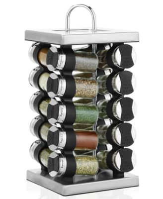 Martha Stewart Collection Square Stainless Steel Spice Rack, 20-Piece Set