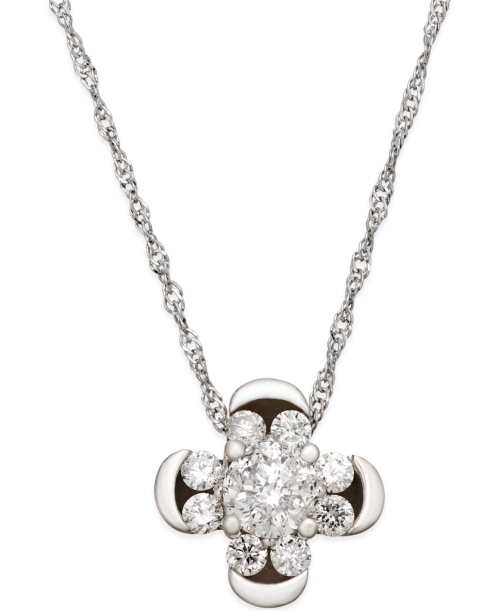 Diamond Cluster Clover Pendant Necklace (1/2 ct. t.w.) in 14k White Gold