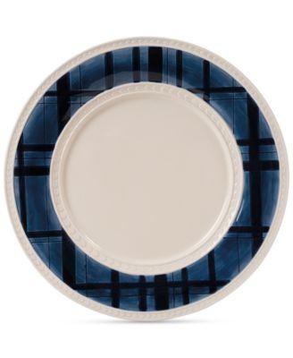 Fitz and Floyd Stoneware Bristol Indigo Tartan Dinner Plate