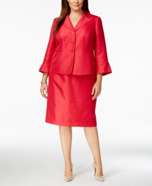 Le Suit Plus Size Bell-Sleeve Shimmer Skirt Suit
