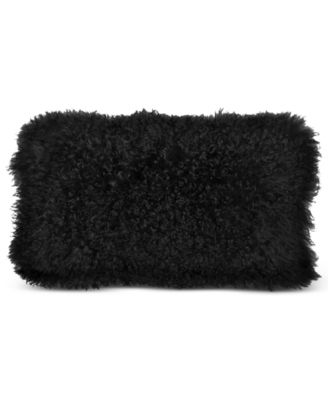 "Donna Karan Home Reflection 11"" x 22"" Ebony Faux Fur Decorative Pillow"