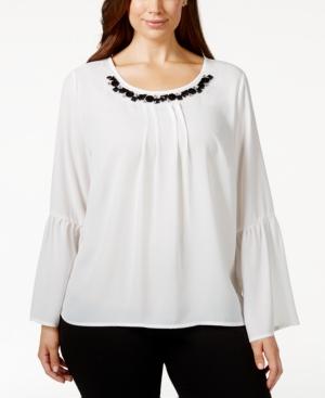 Ny Collection Plus Size Embellished Lace-Back Blouse $24.99 AT vintagedancer.com
