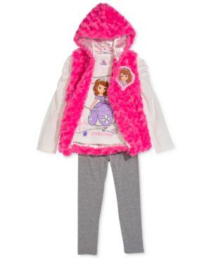Nannette 3-Piece Sofia the First Vest, T-Shirt & Leggings Set, Little Girls...