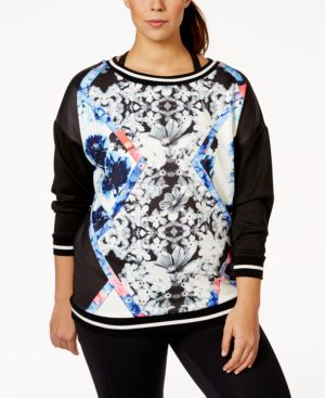 Jessica Simpson The Warm Up Plus Size Printed Active Sweatshirt