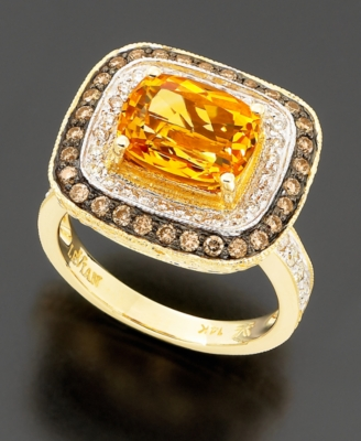Le Vian 14k Gold Citrine (2-1/2 ct. t.w.) & Chocolate Diamond (9/10 ct. t.w.) Ring