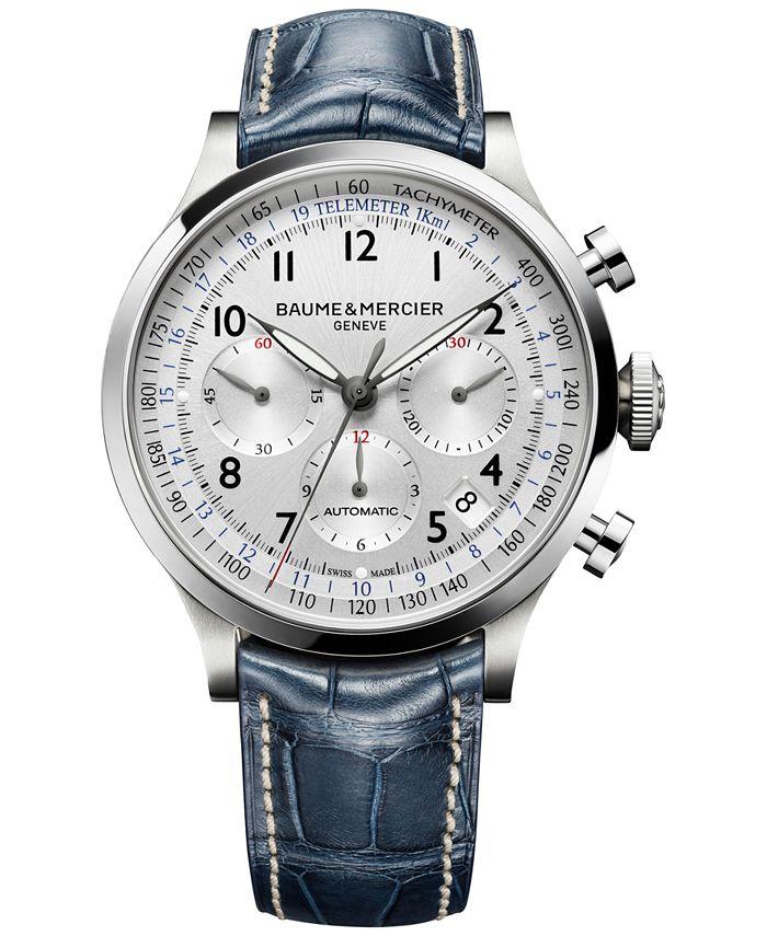 Baume & Mercier - Men's Swiss Automatic Chronograph Capeland Blue Leather Strap Watch 44mm M0A10063