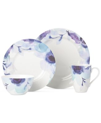Lenox Indigo Watercolor Floral Porcelain 4-Pc. Place Setting, A Macy's Exclusive Style