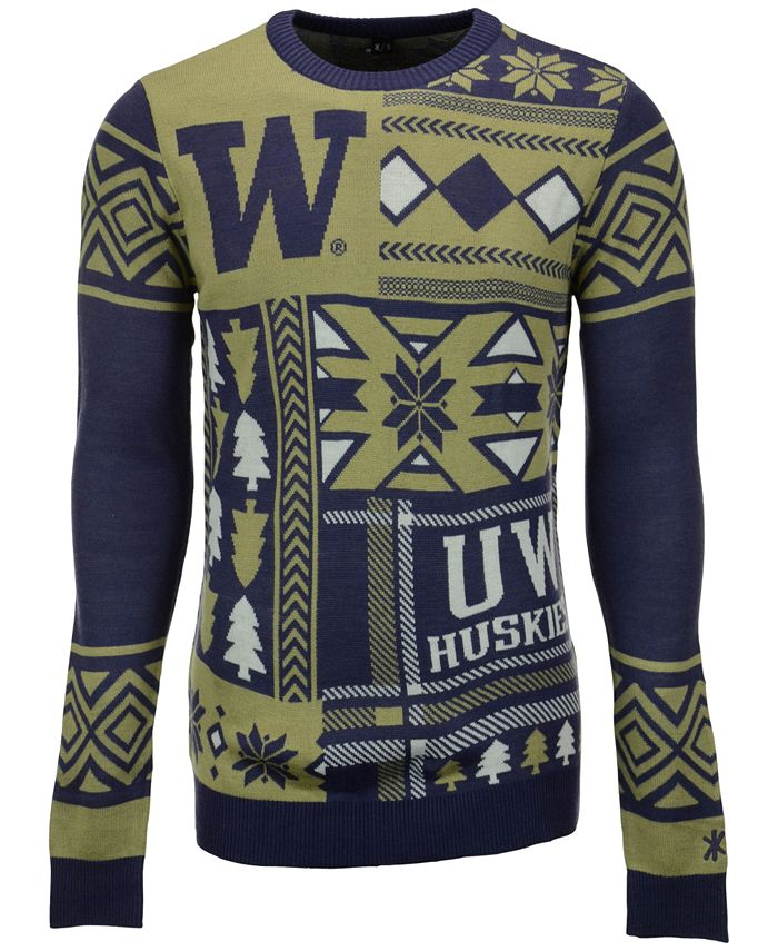 Forever Collectibles - Men's Washington Huskies Patches Christmas Sweater