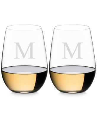 O Monogram Collection 2-Pc. Block Letter Stemless Riesling/Sauvignon Blanc Wine Glasses