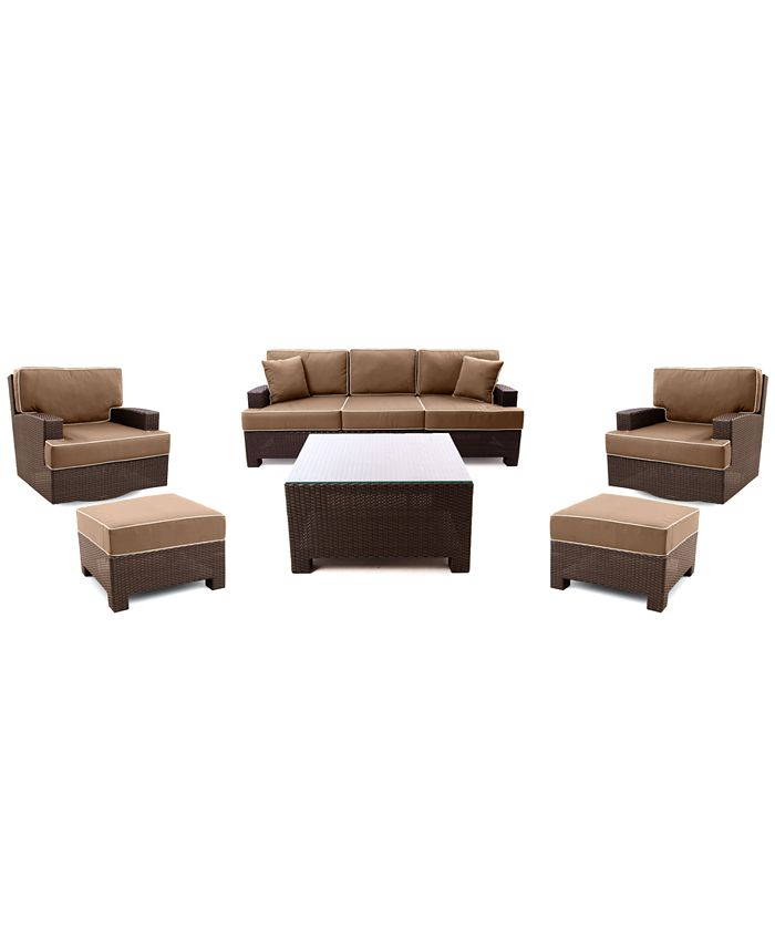 Furniture - Antigua Outdoor 6 Piece Seating Set: 1 Sofa, 2 Swivel Chairs, 2 Ottomans and 1 Coffee Table