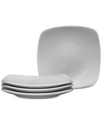 Noritake Gray On Gray Swirl Porcelain 4-Pc. Square Appetizer Plates