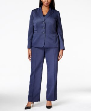 Le Suit Plus Size Four-Button Herringbone Pantsuit