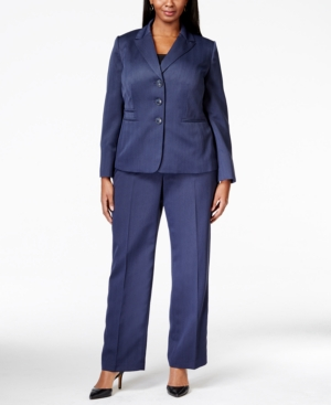 Le Suit Plus Size Four-Button Herringbone Pantsuit