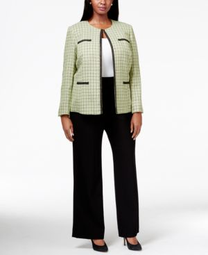 Tahari Asl Plus Size Contrast-Trim Tweed Pant Suit