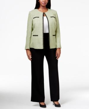 Tahari Asl Plus Size Contrast-Trim Tweed Pant Suit