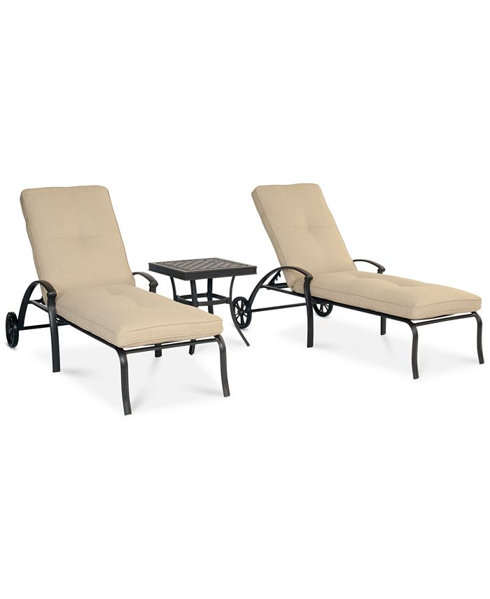 Furniture - Park Gate Outdoor 3-Pc. Set (2 Chaise Lounges & End Table)