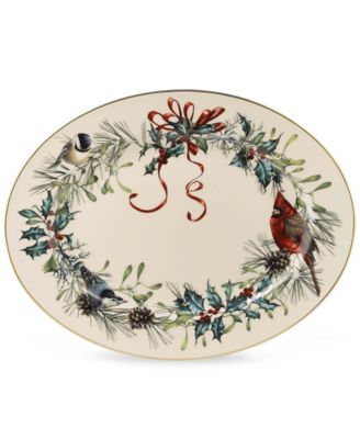 Winter Greetings Oval Serving Platter