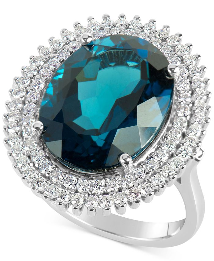 Macy's - Blue Topaz (12 ct. t.w.) and Diamond (4/5 ct. t.w.) Ring in 14k White Gold