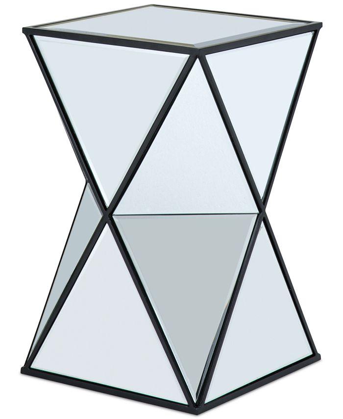 Furniture - Leilani Angluar Mirror Accent Drum Table, Quick Ship