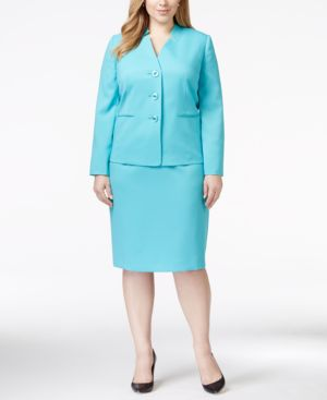 Le Suit Plus Size Twill Skirt Suit