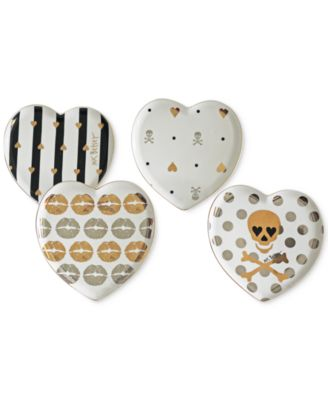 Betsey Johnson Set of 4 Heart Dessert Plates