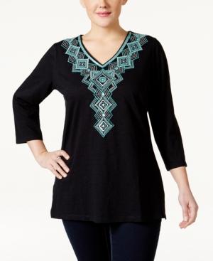 Jm Collection Plus Size Embroidered V-Neck Blouse Only at Macys $24.99 AT vintagedancer.com