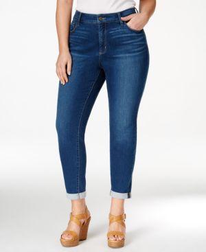 Nydj Plus Size Anabelle Navy Wash Boyfriend Jeans