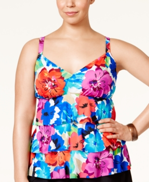 Swim Solutions Plus Size Tiered Sedona Tankini Top Women's Swimsuit plus size,  plus size fashion plus size appare