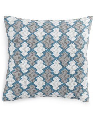 "Hotel Collection Linen Turquoise Embroidered 18"" Square Decorative Pillow, Only at Macy's"