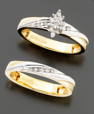 Women's Two-Tone 14k Gold Diamond 2-Piece Bridal Set (1/6 ct. t.w.)