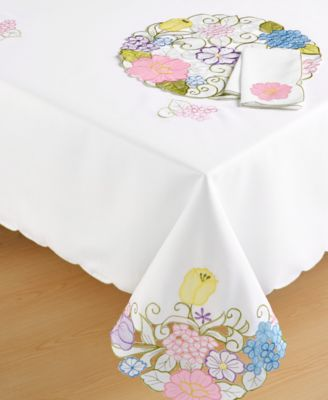 "Homewear Pansy Table Linens Collection 84"" Tablecloth"