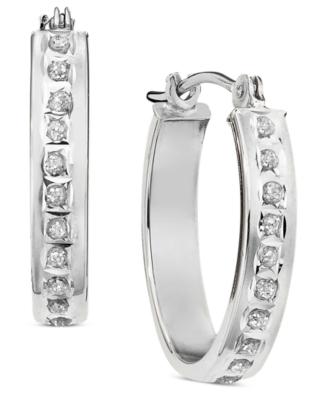 14k White Gold Diamond Accent Oval Hoop Earrings