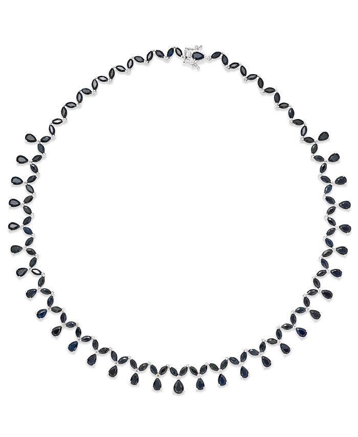 Macy's - Black Sapphire (13 ct. t.w.) and White Topaz Accent Collar Necklace in Sterling Silver