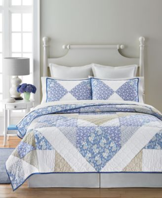 Martha Stewart Collection Blue Meadow Collector's Reversible King Quilt, Only at Macy's