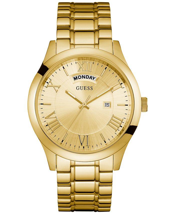 GUESS - Men's Gold-Tone Stainless Steel Bracelet Watch 44mm U0791G2
